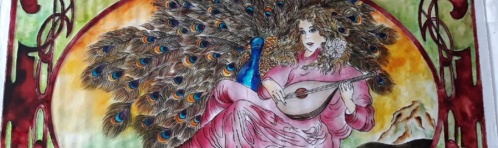 "Extract from the painting ""Peacock"". Aranka Mágori's artwork."